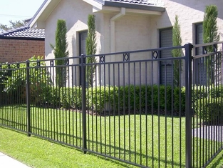 Pressed spear top black powder coated steel fencing / iron fence supplier