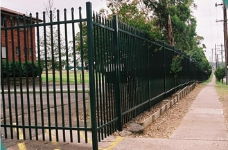 2100mm height x 2450mm width square flat picket HERCULES steel fence 25mm upright x spacing 125mm rail 40mm stain powder supplier