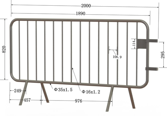 Bristain Standard Hot Dipped Galvanized Crowd Control Barriers Cross Foot