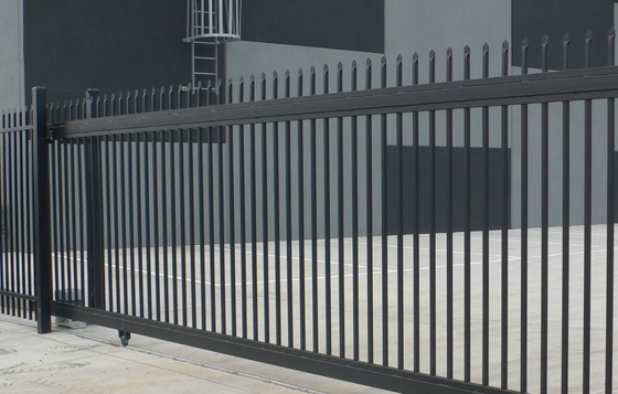 Stain Black powder coated Crimped Spear Tubular Security Garrison Fencing Panels  with fencing gates