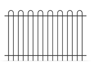Bow Top Tubular Steel Fence Panels INTERPON powder coated at black 1100mm x 2200mm supplier
