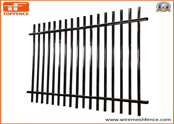 China Stain Black PVC powder Crimped Spear Top Tubular Steel Fence Panels supplier