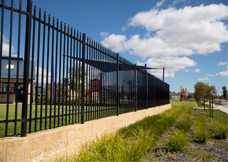 Interpon polyester caoted steel garrison fencing panels dimension 1800mm height x 2400mm width rails 2 xRHS 40mm x 1.6mm