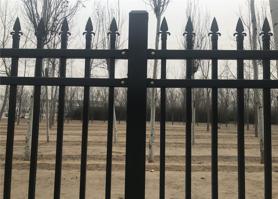 China Ornamental Garrison Tubular Security Fence Panels 45mm*45mm x 1.6mm thick 25mm x 25mm picket crimped spear or flat top supplier