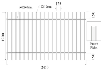 China Pressed Spear Top 2100mm*2450mm Hercules Steel Fence Panels 2 xrail 40mm RHS x 1.6mm spacing 125mm upright 25mm x 1.2mm supplier