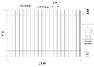 1800mm height x 2450mm crimped spear Hercules fence panels upright 25mm x 25mm x 1.2mm spacing 125mm Powder coated black supplier