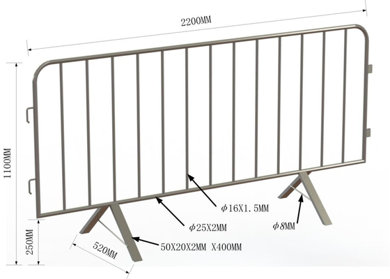 y crowd control barrier fence with removable feet, portable fence for construction and crowd control solutions supplier