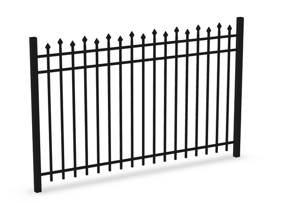 China Top Flat Spear Steel Fence Panels 2100MM*2400MM Stain Black Powder Coated supplier