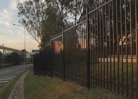 Crimped Spear security Steel Fencing  come with 65mm square tubing 2.1mtrx2.4mtr  stain powder coating supplier