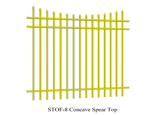 3 rails Concave Crimped top stright spear Garrison Steel Fencing Stain black Powder rails 40mm x 40mm Spacing 100mm supplier