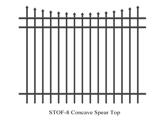 China 3 rails Concave Crimped top stright spear Garrison Steel Fencing Stain black Powder rails 40mm x 40mm Spacing 100mm supplier