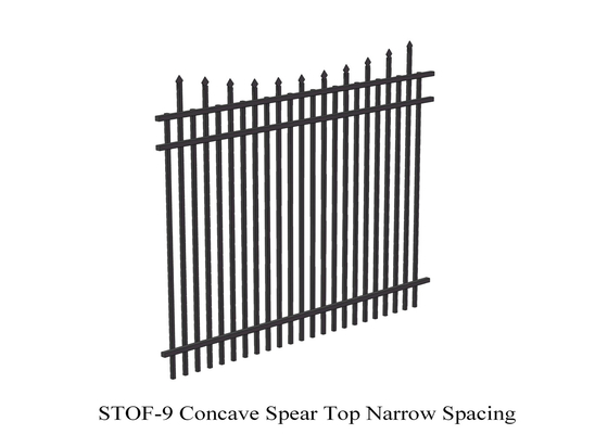 Concave  Crimped Spear Top Narrow Spacing Steel Security Fence 2.1m x 2.4m rails 38mm x 38mm 3 rails supplier