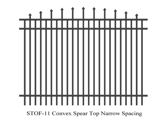 China Convex Crimped Top Spear narrow Speacing Garrison Security Steel Fence Panels Height 2.4m Width 2.4m supplier