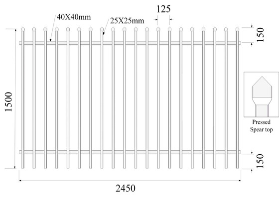 Pressed Spear Top 25mmx25mm picket H1500MMXW2450MM Hercules Fencing Panels supplier