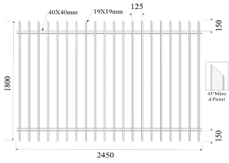 45 degree mitred Picket 19mmx19mm H1800mmxW2450mm Rail 40mm x 2 Black Powder Coated Diplomat Fence