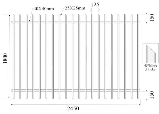 Mitred 45 degree H1800mmxW2450mm 25mm picket diplomat Fencing rails 40mm