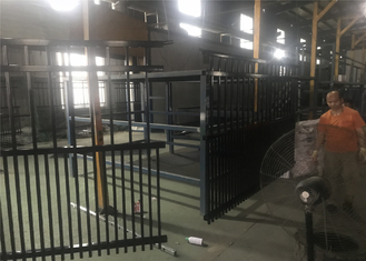 2.1mx2.4m rail 40mm she tube Australia Black Heavy Duty Welded Security garrison steel picket fencing/Garrison Fence Pan supplier