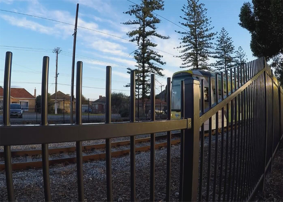 Brisbane Tubular Steel Garrison Fencing Panels Supplier Interpon black powder coated 1.8mx2.4m width steel fence panels supplier