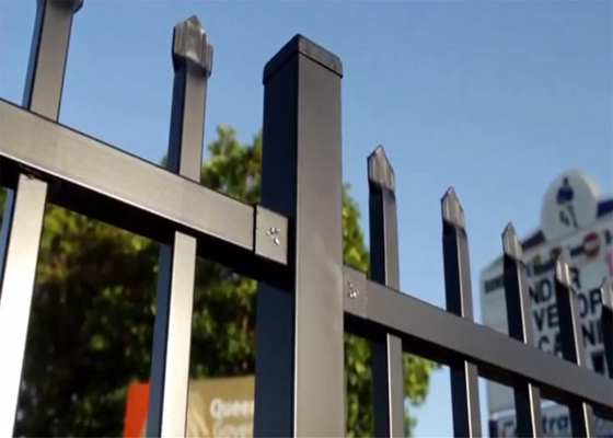 2.4mx2.4m Stain black Interpon Powder Australia Black Heavty Duty Welded Security garrison steel picket fencing/Garrison