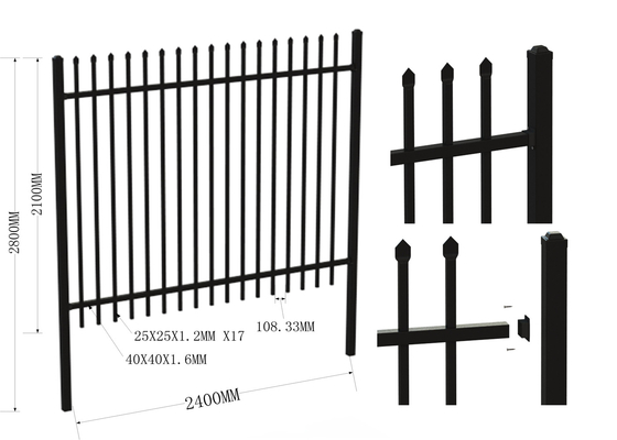 1800mm High X 2400mm Wide 2rails40X40X1.6*25X25X1.2*100mm spacing Stain Black Powder 65mm post x 3000mm length supplier