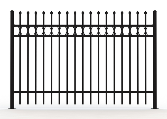 Crimped Spear Steel Picket Crimped Spear Fencing Panels 4 Horizontal Tube
