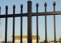 China 2400mm Width Galvanized Steel Spear Top Garrison Fence Panel/Steel Picket Fencing company