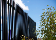China 2.1m*2.4m Crimped Spear Garrison Tubular Fencing Panels stain Black RAL9001 powder steel fencing panels factory