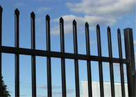 steel tubular Security Garrison Fencing 2.4M height x 2.4M width Rails 40mm upright 25mm spacing powder coated