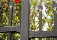 Powder coated horizontal steel garrison fence