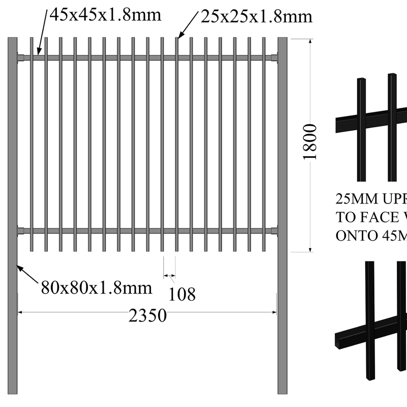 Flat top & bottom security tubular steel fencing 25mm x 25mm upright picket