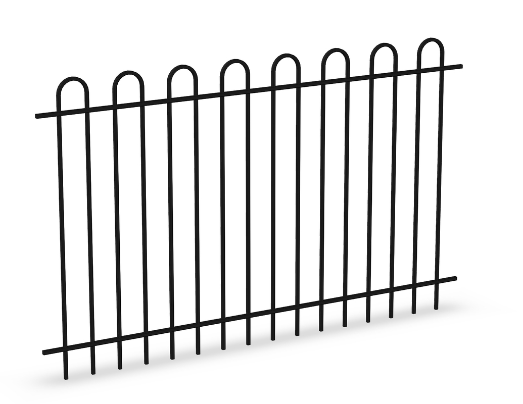 Bow Top Tubular Steel Fence Panels INTERPON powder coated at black 1100mm x 2200mm