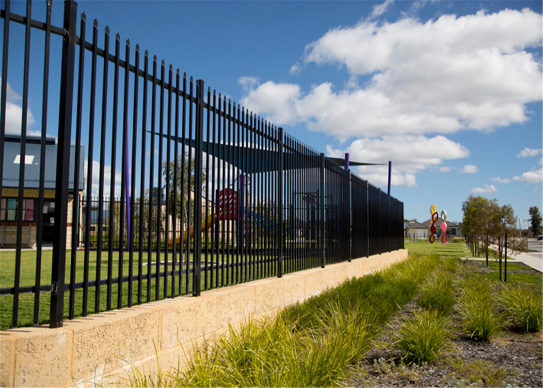 Interpon polyester caoted steel garrison fencing panels dimension 1800mm height x 2400mm width rails 2 xRHS 40mm x 1.6mm supplier