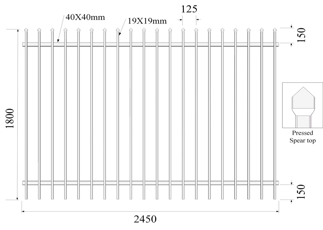 45° mitre triangle tubular security Hercules steel fencing panels 1.5mx 2.45m 42 microns high and 80 microns powder