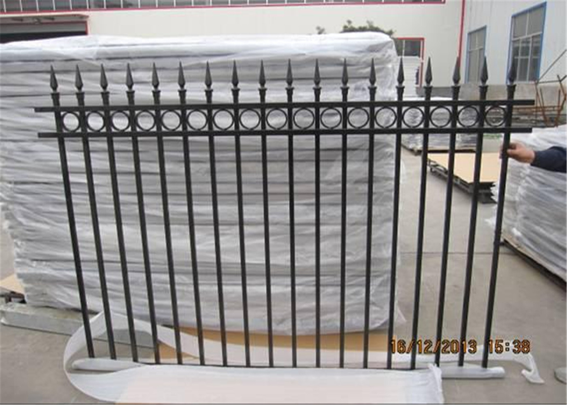High-Security Garrison Fence Panels 2.1mtrs*2.4mtrs steel tubular Fencing Stain black powder pressed spear Sharp design