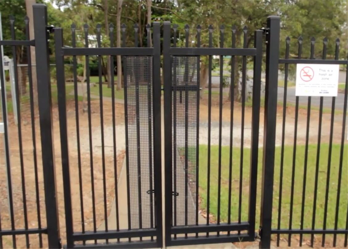 Tubular Garrison Crimped steel picket Fencing Panels INTERPON powder coated 1800mm x 2350mm fencing