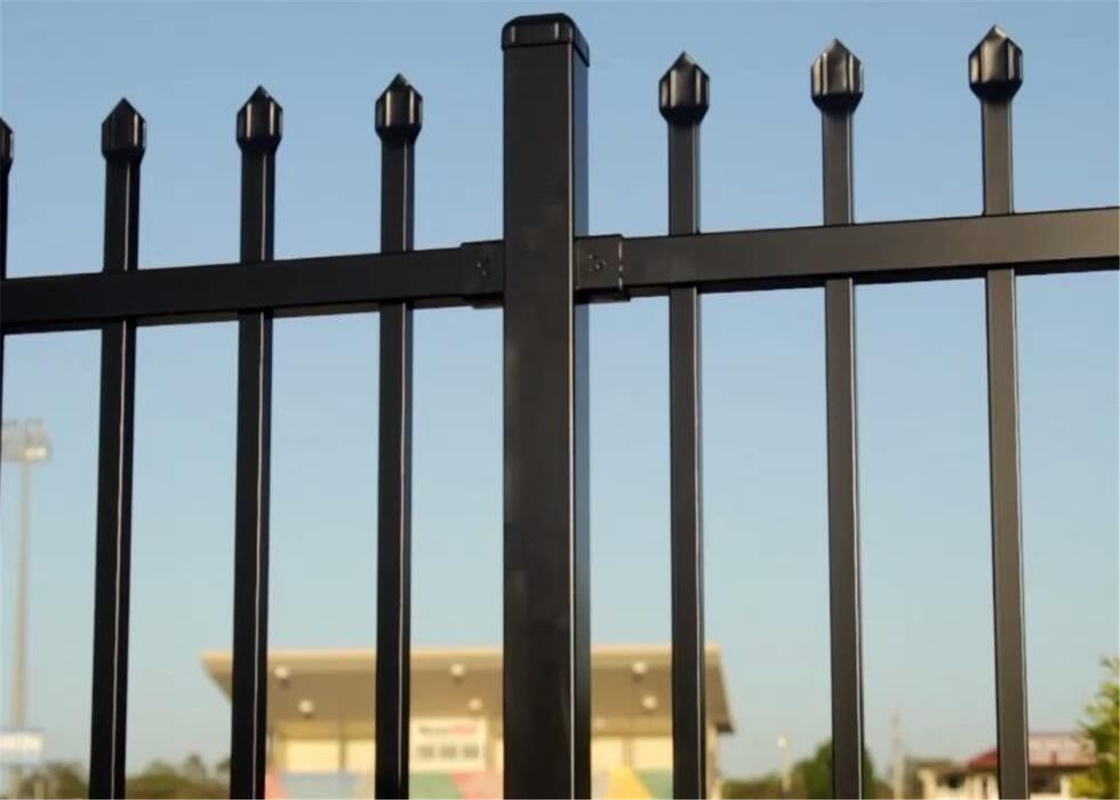 Flat Top Garrison Security Fencing panels, steel tubular fencing panels 2.1mx2.4m