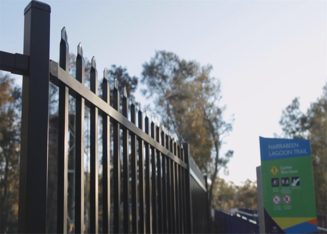 Garrison Fence for sale 2100mm x 2400mm for school stain black powder coated