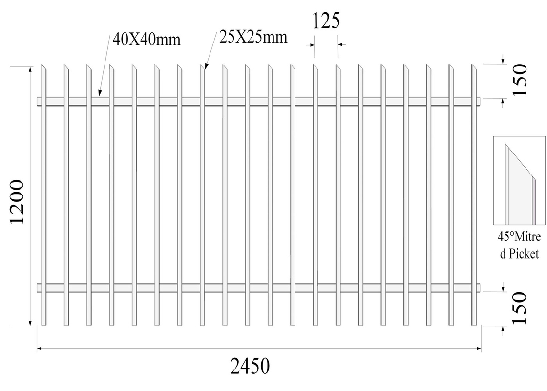 45-degree mitred picket 25mmx25mm 2 Rails 40mmx1.60mm H1200mmxW2450mm Hercules Fencing supplier