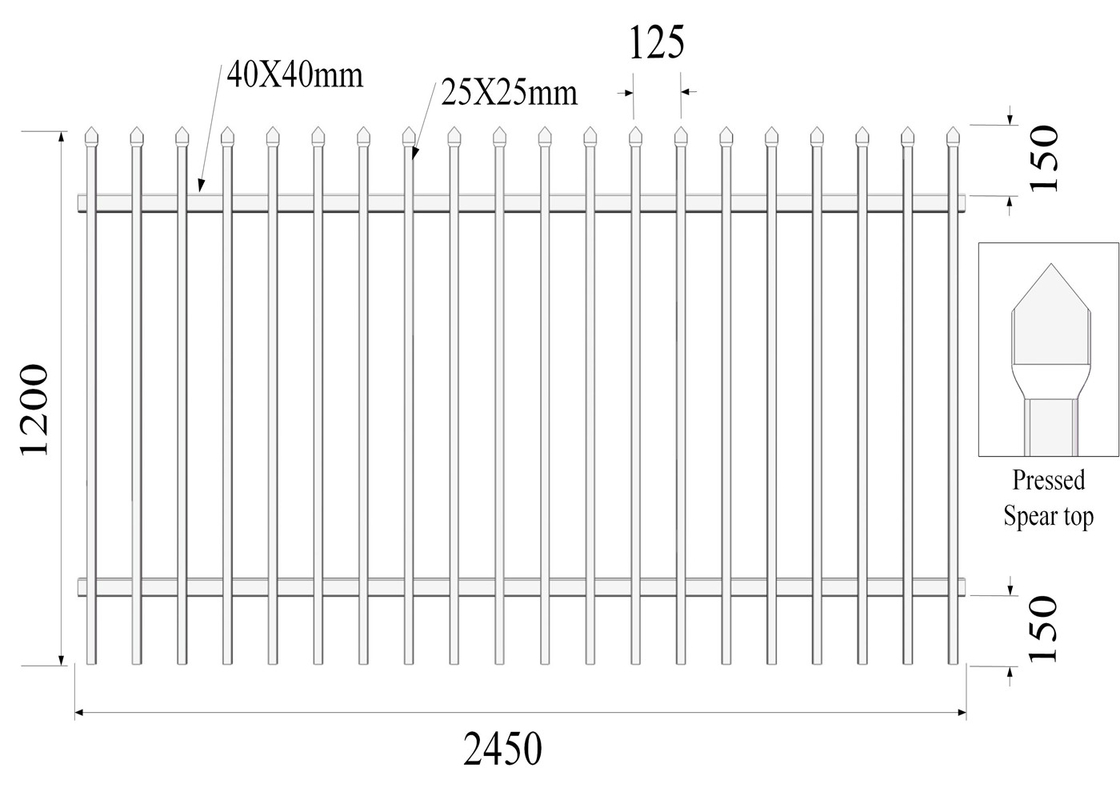 Top Crimped PRESSED Spear 25mmx25mm Picket 2 rails SHS40mm H1200mmxW2450mm Hercules Fence Panels