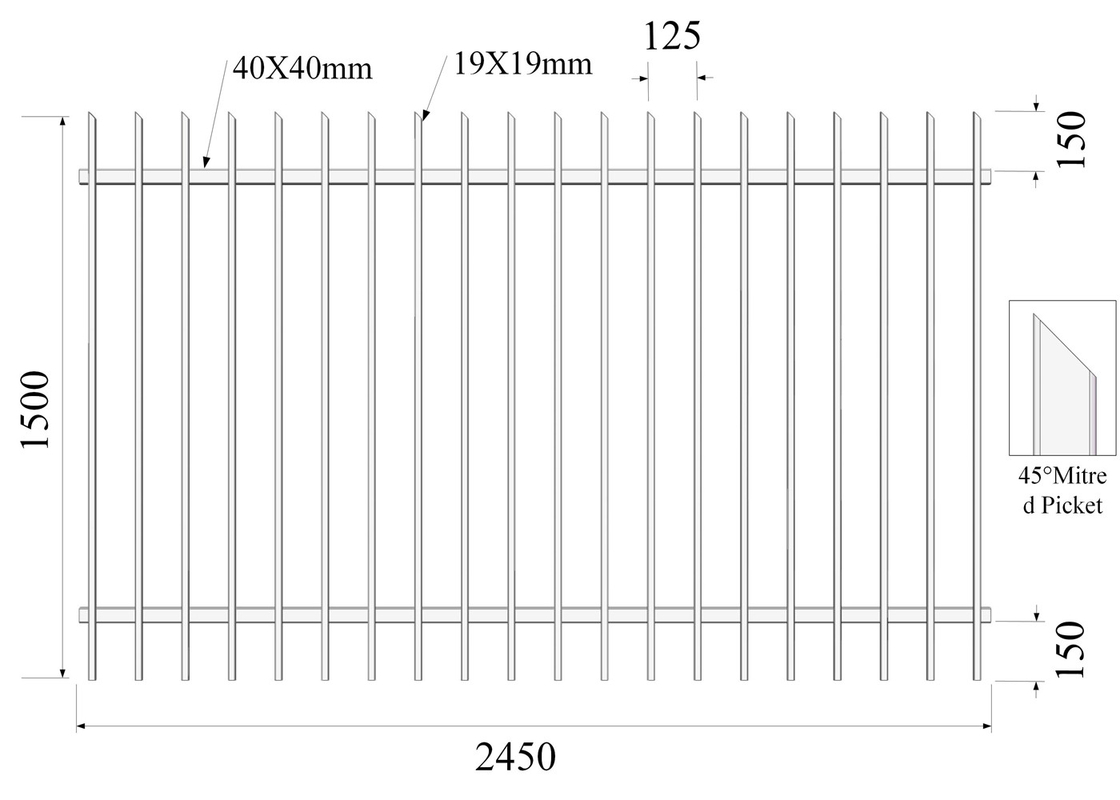 45 degree mitred 19mmx19mm picket Hercules Fencing H1500mm*W2450mm 2x40mm rails supplier