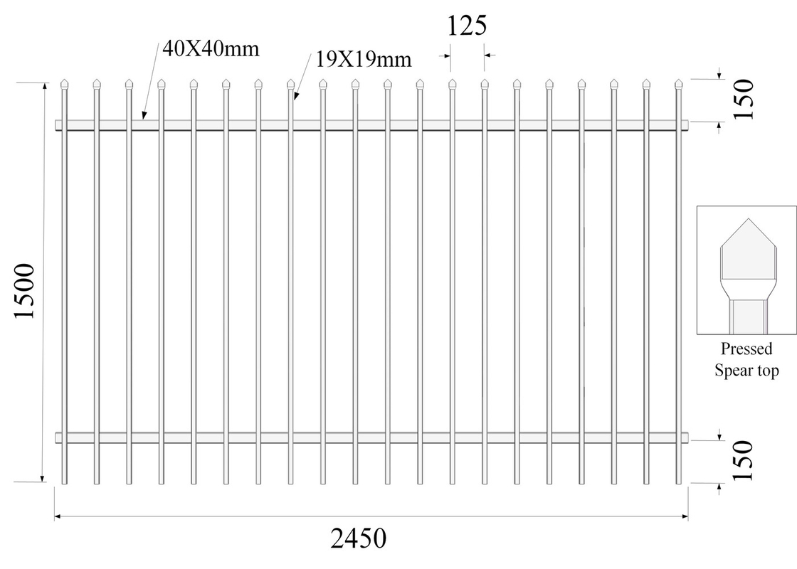 Pressed Top Spear H1500mmxW2450mm Rail 40mmx2 Picket 19mmx19mm Hercules Fencing