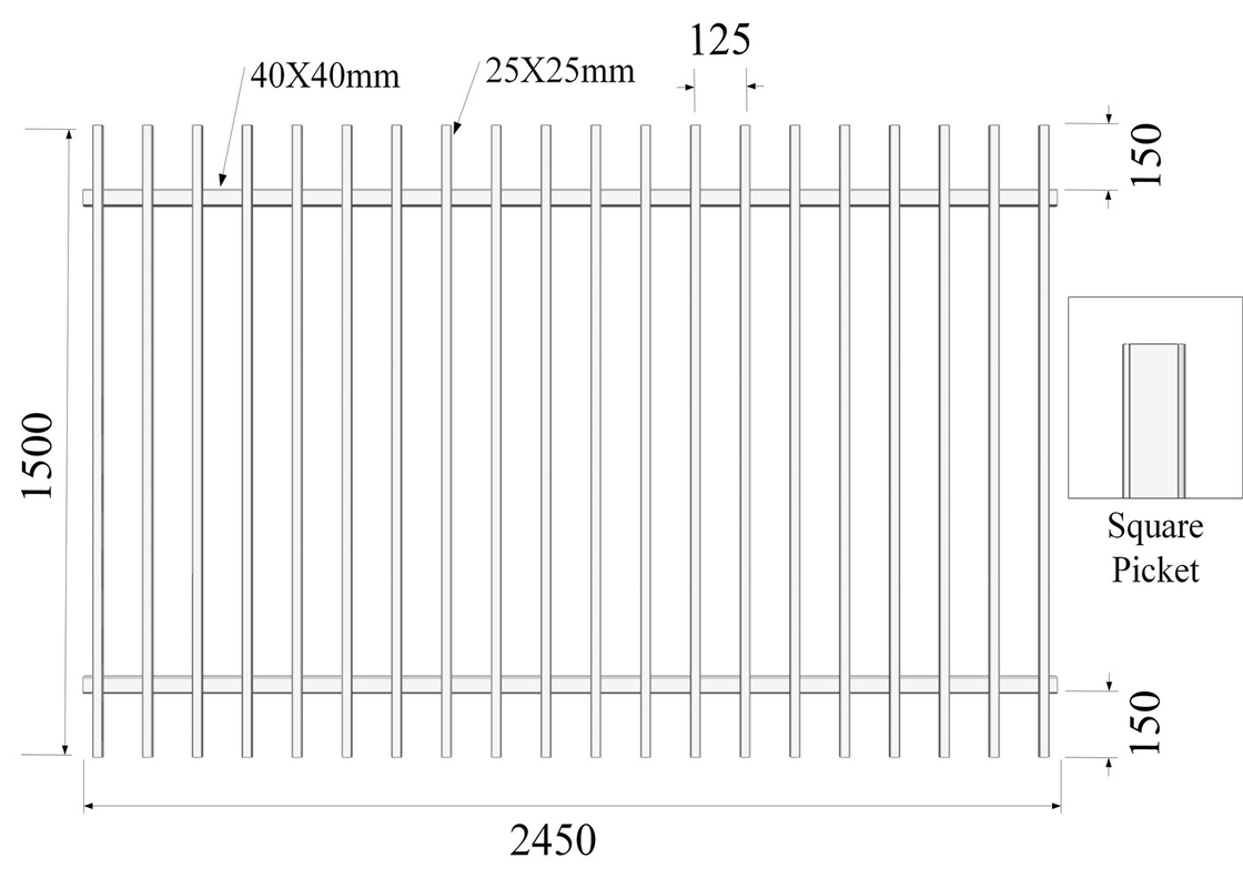 Square picket 25mm x 25mm H1500mmxW2450mm Hercules Fencing Panels Rail 40mmx40mm Spacing 110mm