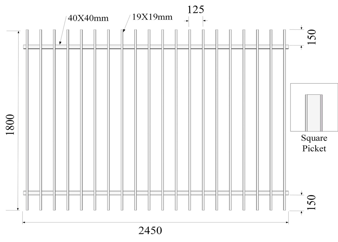 H1800mmxW2450m Square Picket 19mmx19mm Rail 40mmx40mm Stain black Powder Diplomat Fencing Panels