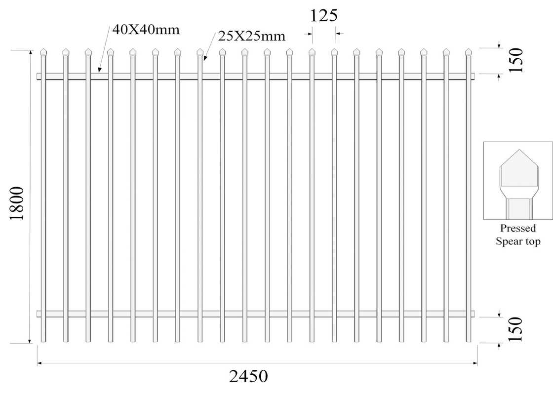 Crimped Pressed Spear diplomat Fencing 25mm picket Rail 40mm H1800mmxW2450mm