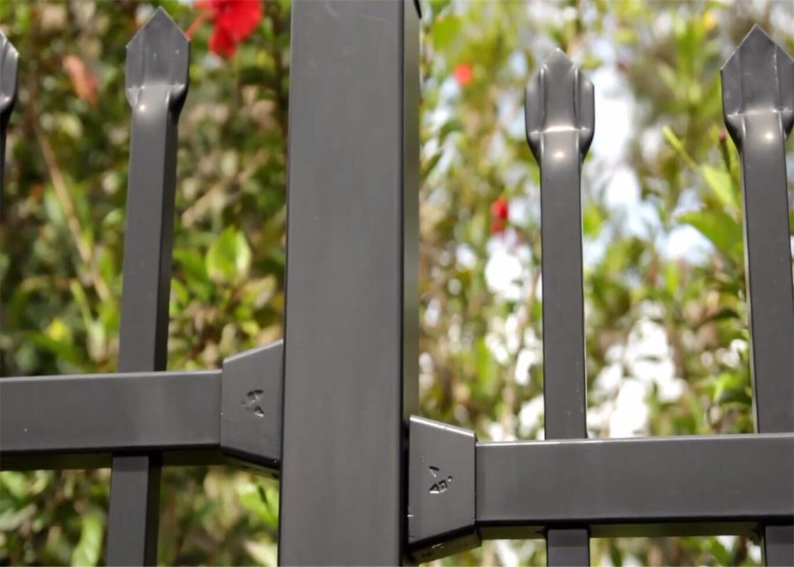 Self -Clean Stain Black Powder Coated Garrison Security Fencing supplier