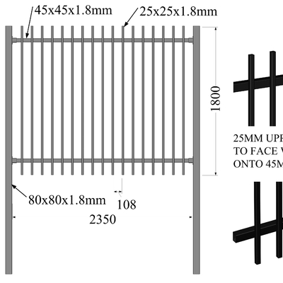 China Flat top & bottom security tubular steel fencing 25mm x 25mm upright picket distributor