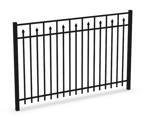 Top Flat Spear Steel Fence Panels 2100MM*2400MM Stain Black Powder Coated