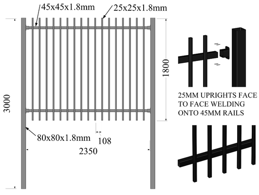 Good Quality Garrison Fence & Hercules Fence Panels 2.1mx2.4m Flat Top Design AKZOL NOBEL powder on sale