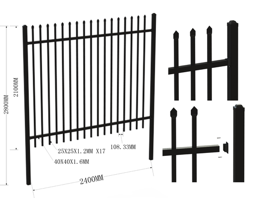 China 2000mm*2400mm Ornamental Tubular e Diplomat fence  for Australia Market distributor