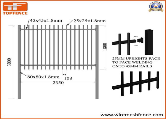 Good Quality Garrison fence & 2.1m X2.4m Spear Top Security Steel Fence/ Steel Fencing on sale